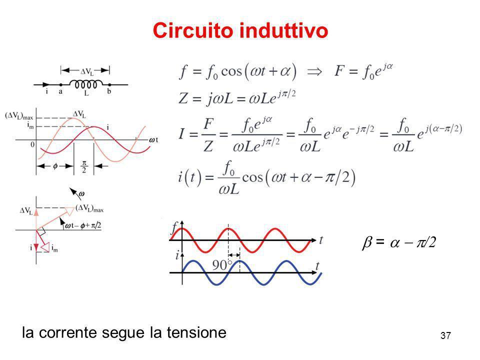 23/09/200837 Circuito induttivo la corrente segue la tensione = /2