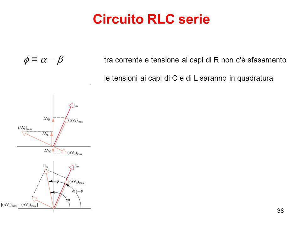 23/09/200838 Circuito RLC serie tra corrente e tensione ai capi di R non cè sfasamento le tensioni ai capi di C e di L saranno in quadratura =