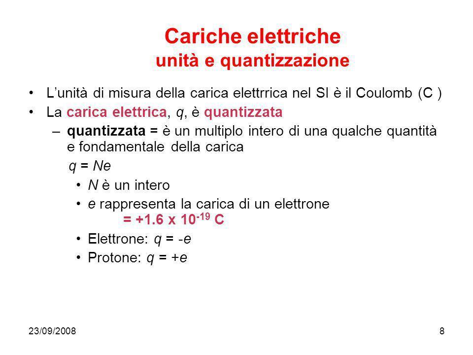 23/09/20088 Cariche elettriche unità e quantizzazione Lunità di misura della carica elettrrica nel SI è il Coulomb (C ) La carica elettrica, q, è quan