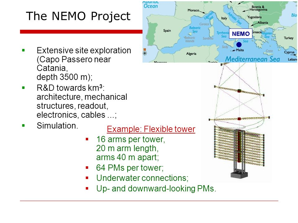 The NEMO Project Extensive site exploration (Capo Passero near Catania, depth 3500 m); R&D towards km 3 : architecture, mechanical structures, readout, electronics, cables...; Simulation.