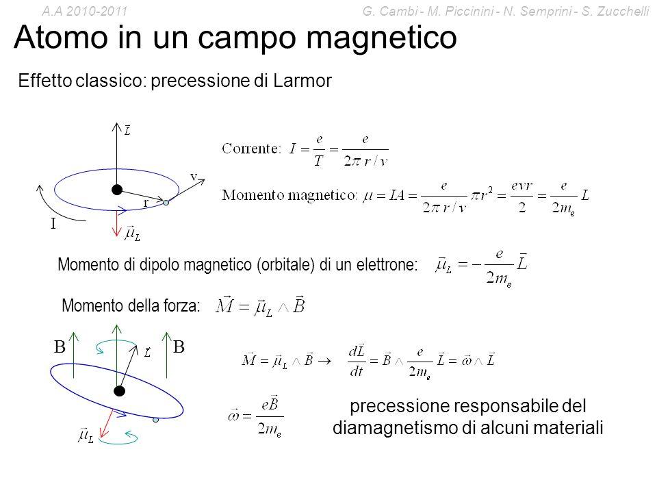 Atomo in un campo magnetico Effetto classico: precessione di Larmor Momento di dipolo magnetico (orbitale) di un elettrone: Momento della forza: prece