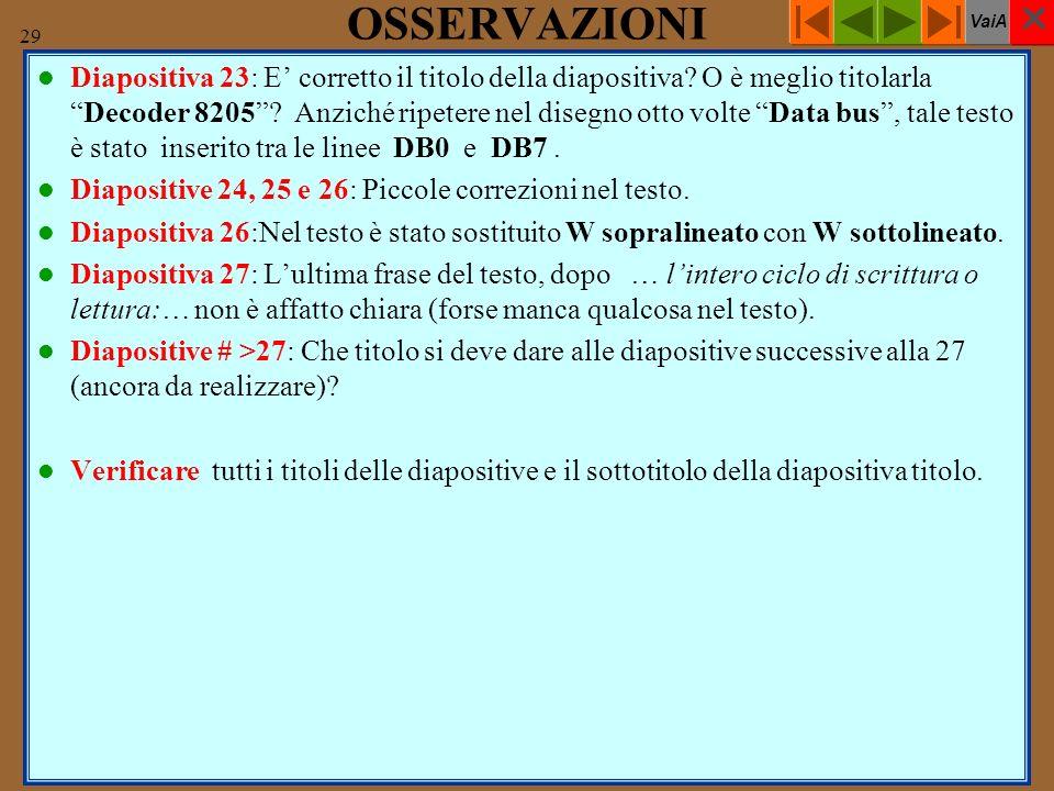 VaiA 29 OSSERVAZIONI Diapositiva 23: E corretto il titolo della diapositiva.