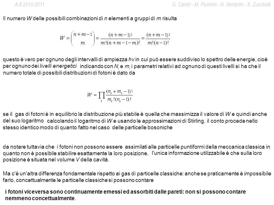 Il numero W delle possibili combinazioni di n elementi a gruppi di m risulta questo è vero per ognuno degli intervalli di ampiezza hν in cui può esser