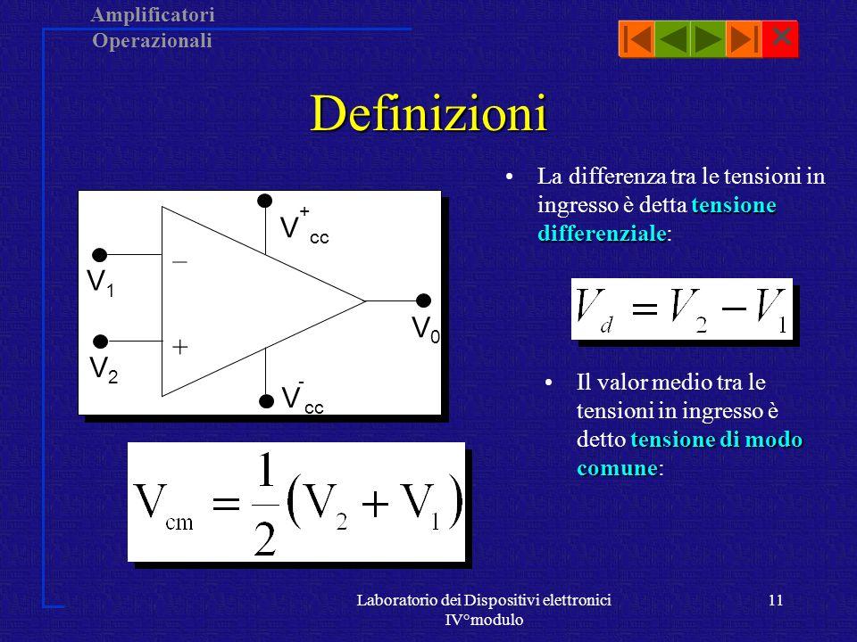 Amplificatori Operazionali Laboratorio dei Dispositivi elettronici IV°modulo 10 Tensione di uscita segnale di uscita V 0 V 1 A - V 2 A +Il segnale di uscita V 0 è il risultato della somma tra il segnale applicato allingresso invertente, V 1, invertito di segno e amplificato di un fattore A -, con il segnale allingresso non invertente, V 2, a sua volta amplificato di fattore A +.