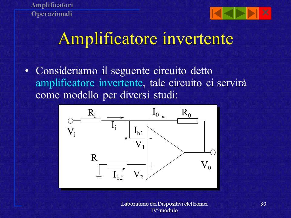 Amplificatori Operazionali Laboratorio dei Dispositivi elettronici IV°modulo 29 AO Controreazionato Consideriamo un operazionale come un elemento di un circuito.