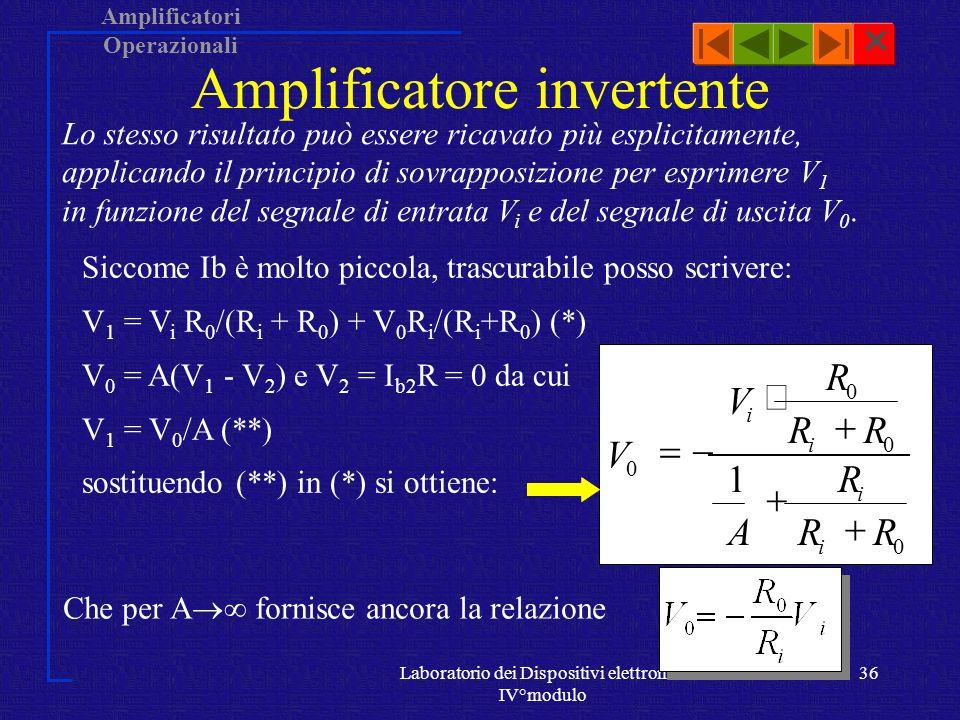 Amplificatori Operazionali Laboratorio dei Dispositivi elettronici IV°modulo 35 Conclusioni Lamplificatore invertente, dato un segnale di ingresso, lo amplifica di un fattore R 0 /R i, invertendone la fase di 180°: Ne deriva che il valore di G, non dipende da A, e quindi non varia con la frequenza, né con il tipo di AO utilizzato: esso è determinato esclusivamente dai valori di R 0 e R i.