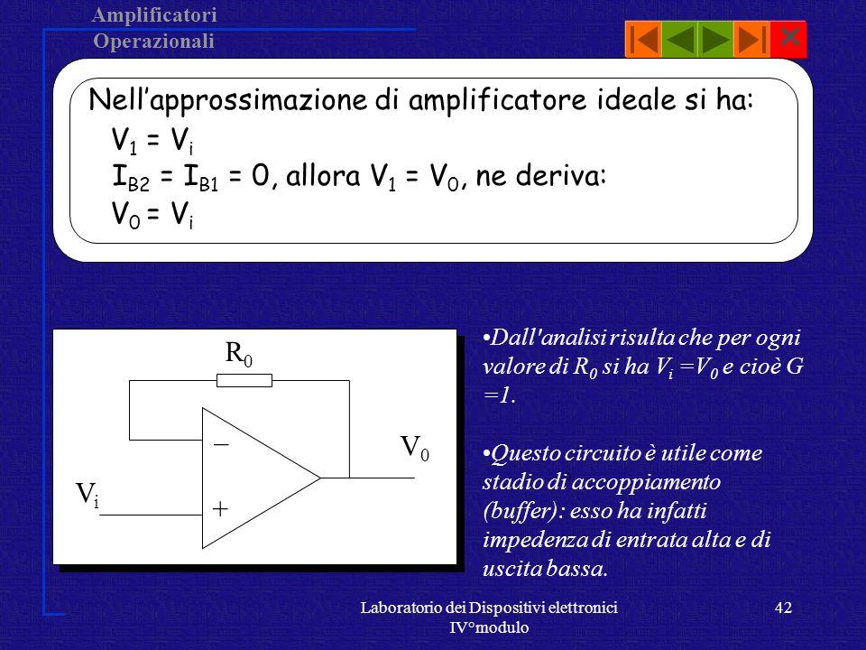Amplificatori Operazionali Laboratorio dei Dispositivi elettronici IV°modulo 41 Inseguitore Un caso semplice di amplificatore non invertente si ha per Ri = (circuito aperto), tale circuito viene detto inseguitore.
