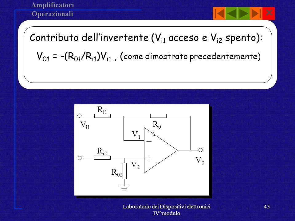Amplificatori Operazionali Laboratorio dei Dispositivi elettronici IV°modulo 44 Analisi del circuito.