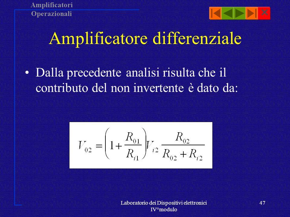 Amplificatori Operazionali Laboratorio dei Dispositivi elettronici IV°modulo 46 Ricordando che per il non invertente: V 0 = (1 + R 0 /R i )V 2, occorre calcolare V 2.