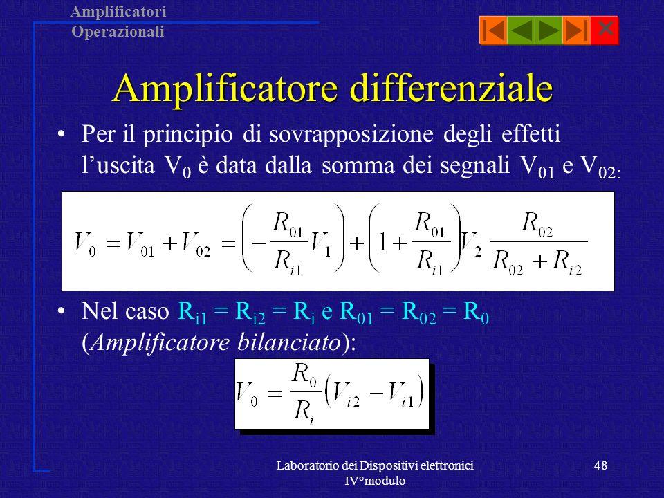 Amplificatori Operazionali Laboratorio dei Dispositivi elettronici IV°modulo 47 Amplificatore differenziale Dalla precedente analisi risulta che il contributo del non invertente è dato da: