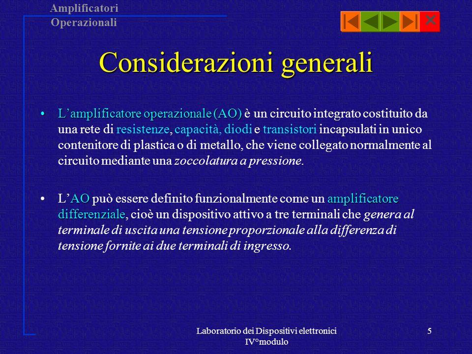 Amplificatori Operazionali Laboratorio dei Dispositivi elettronici IV°modulo 4 Storia Successivamente la realizzazione di A.O.