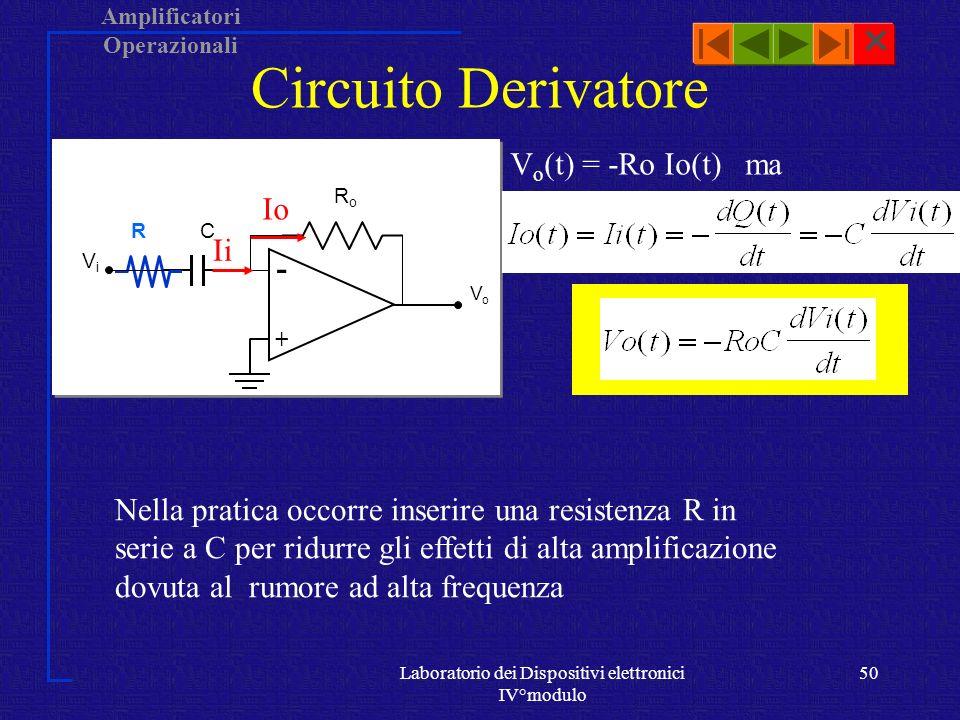 Amplificatori Operazionali Laboratorio dei Dispositivi elettronici IV°modulo 49 Circuito Integratore V o = Q/C e ViVi RiRi VoVo -+-+ C Io ma Io(t) = Ii(t) = Vi(t)/Ri Ii Nella pratica occorre inserire una resistenza R in parallelo a C perché con tensioni continue manca la controreazione e anche se Vi è nulla, la presenza di Vos o correnti in ingresso non nulle carica C R