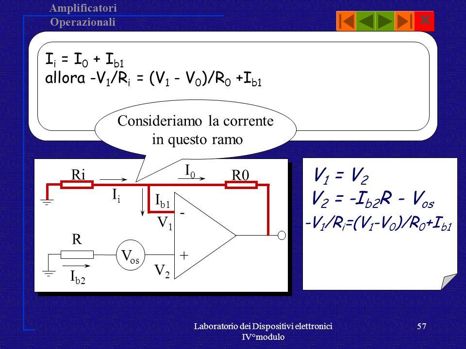 Amplificatori Operazionali Laboratorio dei Dispositivi elettronici IV°modulo 56 V os + - RiRi R0 R V2V2 V1V1 IiIi I0I0 I b1 I b2 Consideriamo il seguente ramo V 1 = V 2 Calcolo di V 2 : -I b2 R -V os = V 2 V 2 = -I b2 R - V os