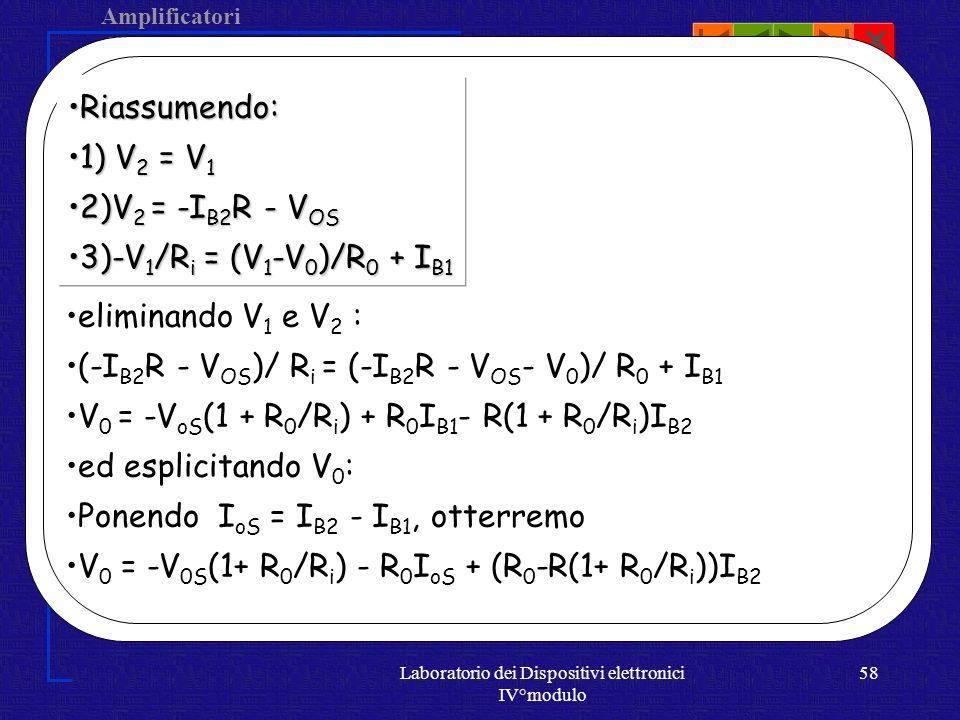 Amplificatori Operazionali Laboratorio dei Dispositivi elettronici IV°modulo 57 V os + - Ri R0 R V2V2 V1V1 IiIi I0I0 I b1 I b2 V 1 = V 2 V 2 = -I b2 R - V os Consideriamo la corrente in questo ramo I i = I 0 + I b1 allora -V 1 /R i = (V 1 - V 0 )/R 0 +I b1 -V 1 /R i =(V 1 -V 0 )/R 0 +I b1