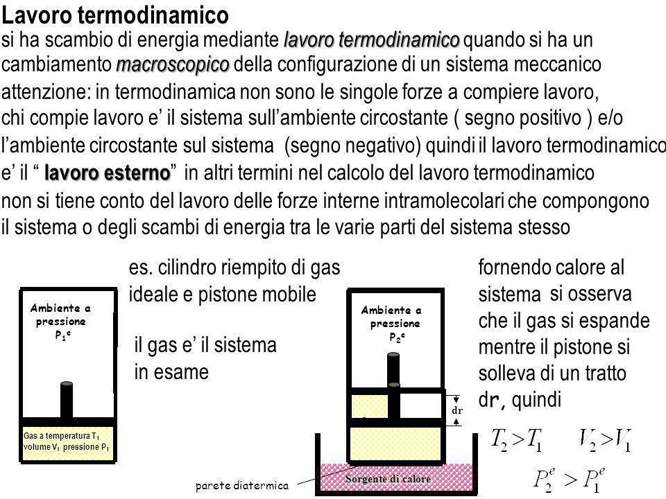 Sorgente di calore parete diatermica non si tiene conto del lavoro delle forze interne intramolecolari che compongono lavoro termodinamico si ha scamb