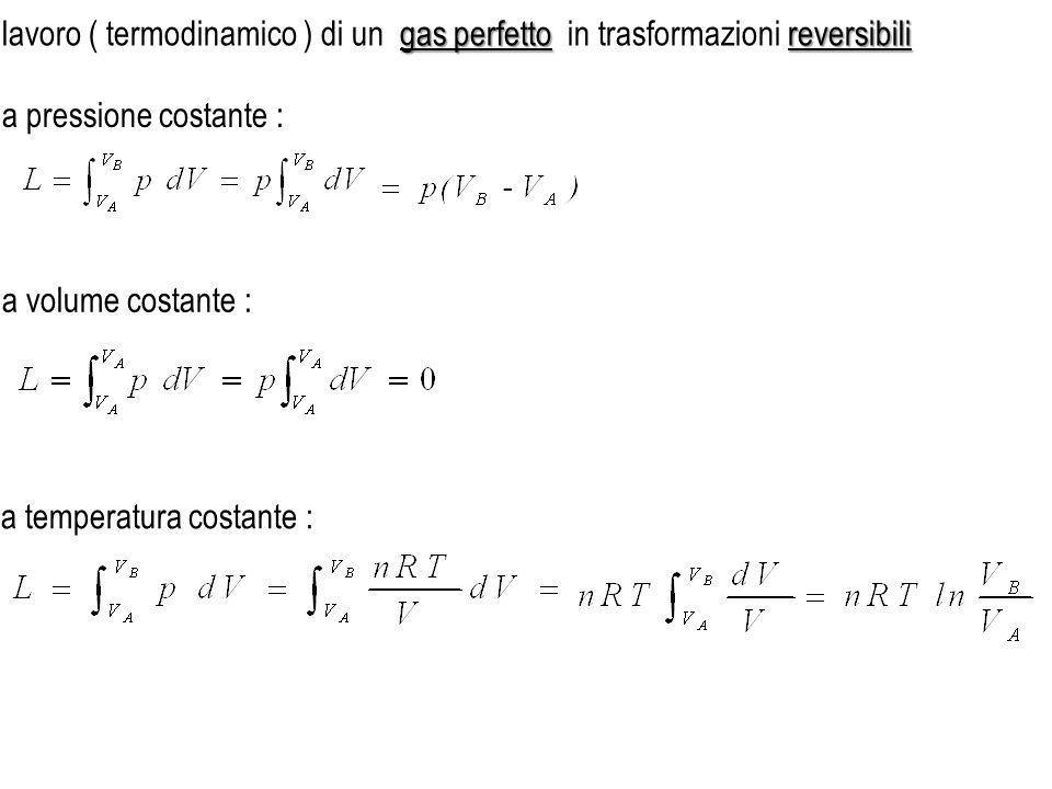 a pressione costante : a volume costante : a temperatura costante : gas perfetto reversibili lavoro ( termodinamico ) di un gas perfetto in trasformaz