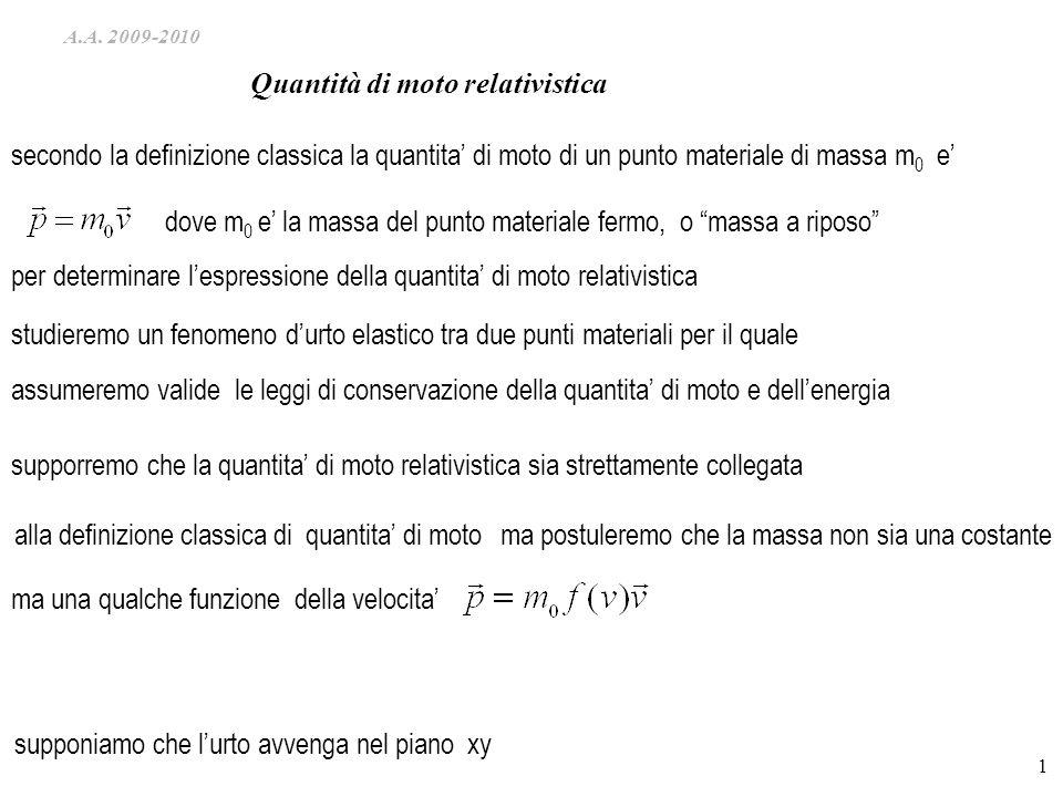 A.A. 2009-2010 1 studieremo un fenomeno durto elastico tra due punti materiali per il quale assumeremo valide le leggi di conservazione della quantita