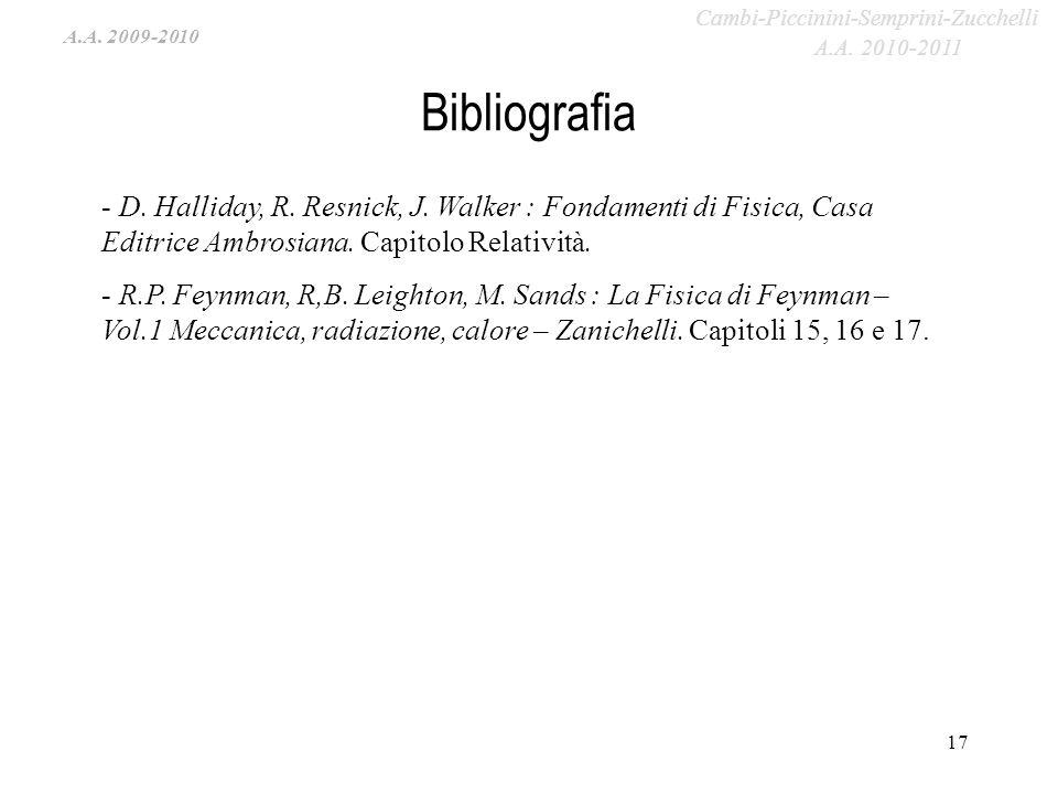 A.A. 2009-2010 Bibliografia 17 - D. Halliday, R. Resnick, J. Walker : Fondamenti di Fisica, Casa Editrice Ambrosiana. Capitolo Relatività. - R.P. Feyn