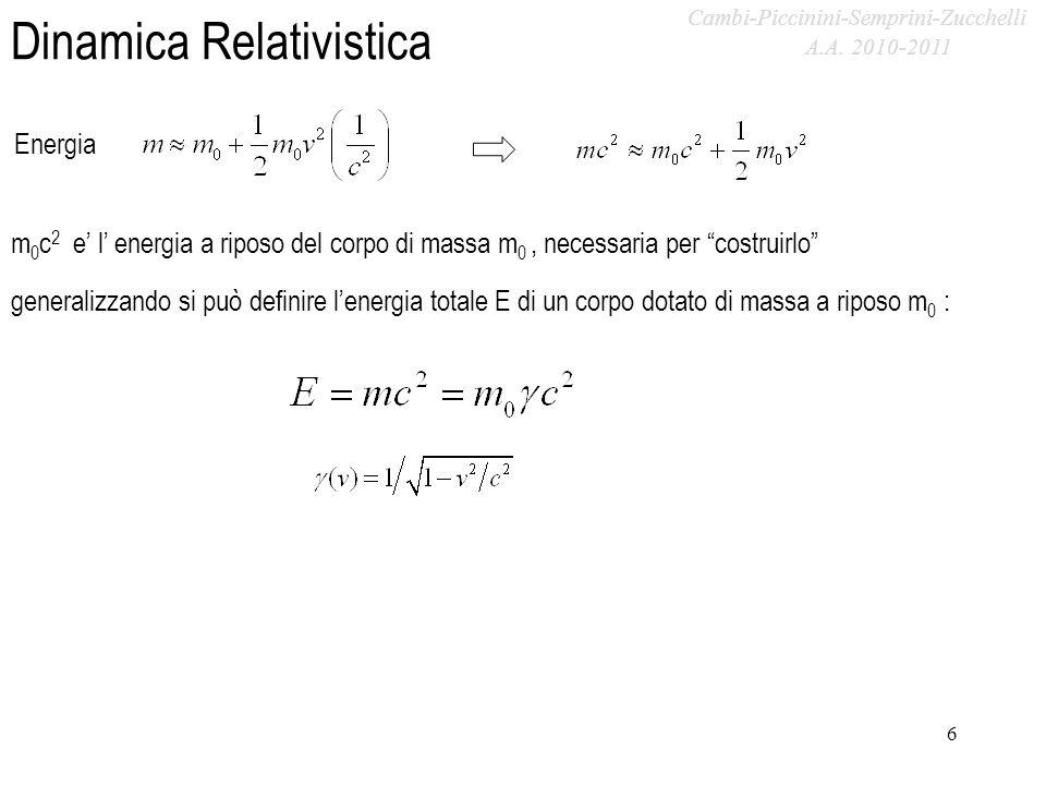 A.A. 2009-2010 Dinamica Relativistica Energia 6 generalizzando si può definire lenergia totale E di un corpo dotato di massa a riposo m 0 : m 0 c 2 e