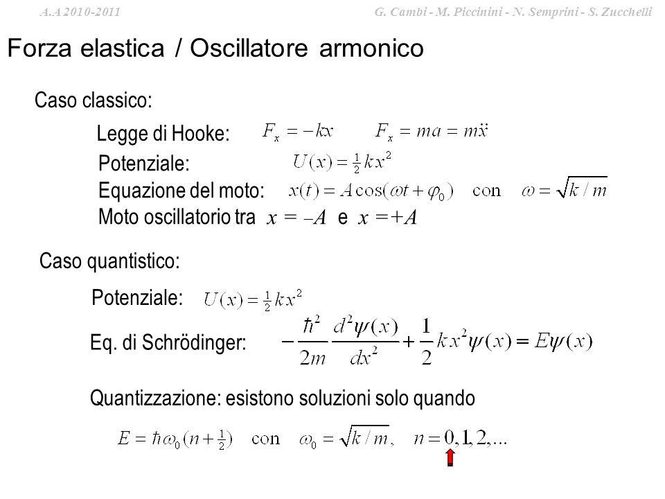 Forza elastica / Oscillatore armonico Legge di Hooke: Potenziale: Equazione del moto: Moto oscillatorio tra x = A e x =+A Caso quantistico: Potenziale