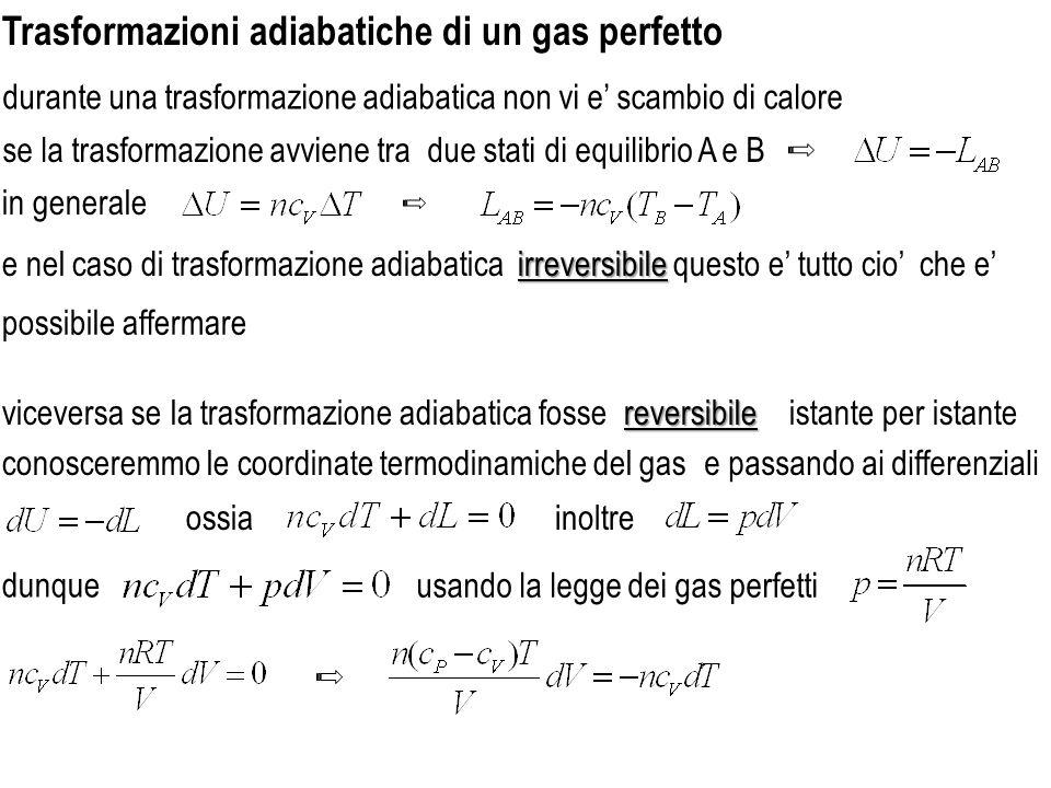 dove si sono utilizzate la relazione di Mayere la adiabaticareversibile gas perfetto A e B sono stati qualunque per una trasformazione adiabatica reversibile di un gas perfetto vale la formula di Poisson separando le variabili si ottiene ossia integrando da un generico stato A ad un generico stato B da che sostituita nella porta a e possibile usare anche p e V come variabili oppure p e T ottenendo in questo caso