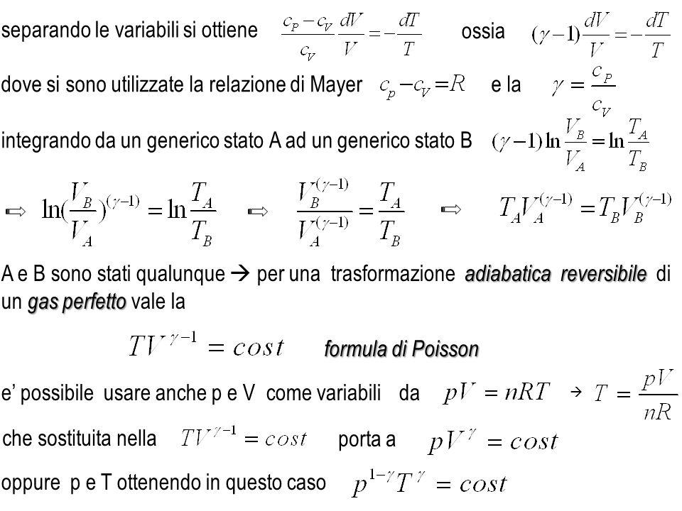 dove si sono utilizzate la relazione di Mayere la adiabaticareversibile gas perfetto A e B sono stati qualunque per una trasformazione adiabatica reve