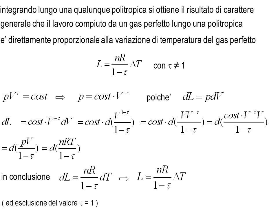 e direttamente proporzionale alla variazione di temperatura del gas perfetto in conclusione ( ( ad esclusione del valore = 1 ) integrando lungo una qu