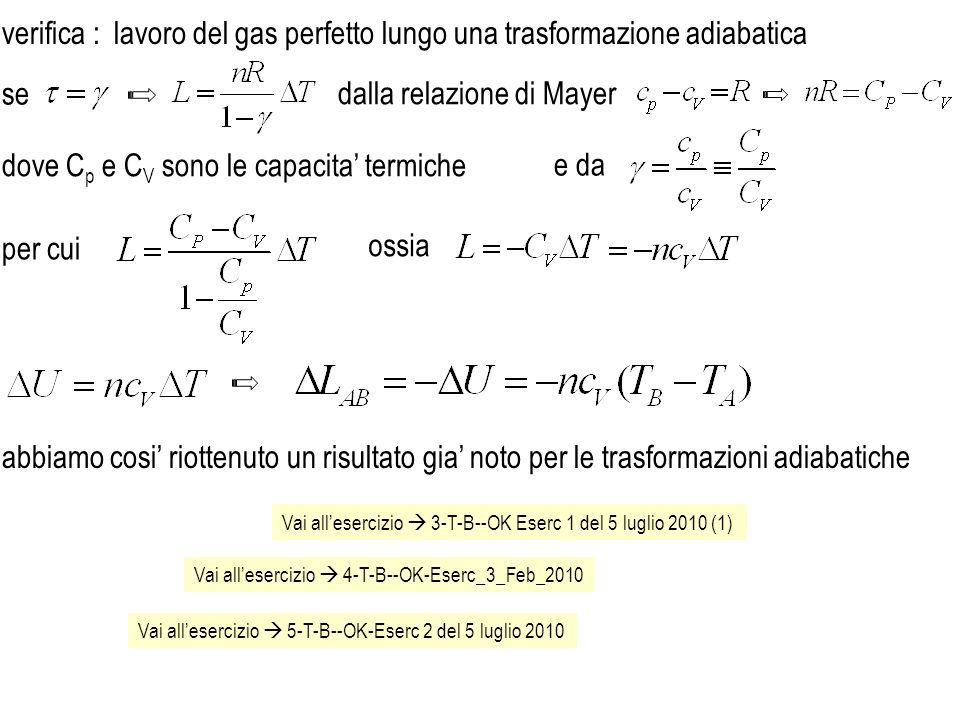 lavoro del gas perfetto lungo una trasformazione adiabatica se dalla relazione di Mayer e da dove C p e C V sono le capacita termiche verifica : ossia