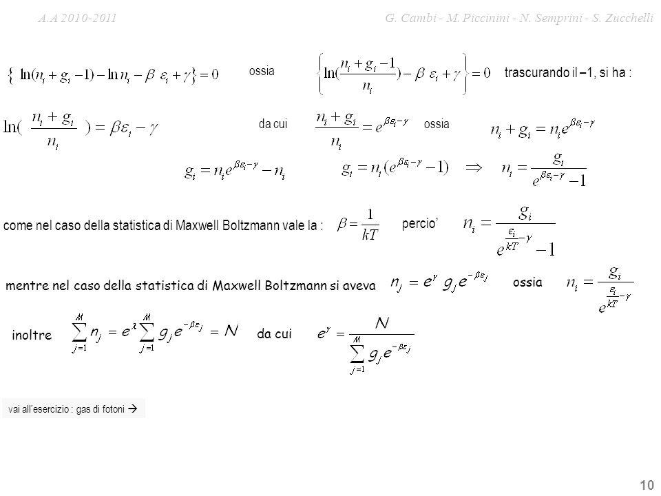 10 trascurando il –1, si ha : come nel caso della statistica di Maxwell Boltzmann vale la : da cuiossia percio ossia vai allesercizio : gas di fotoni