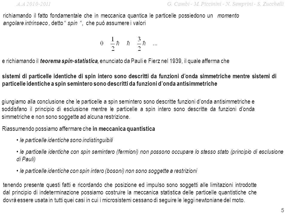 5 sistemi di particelle identiche di spin intero sono descritti da funzioni donda simmetriche mentre sistemi di particelle identiche a spin semintero