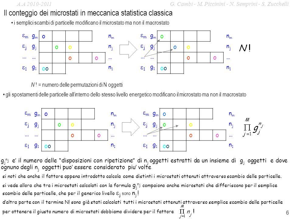 6 o oo oo o m j … 1 gmgm gjgj … g1g1 nmnm njnj … n1n1 i semplici scambi di particelle modificano il microstato ma non il macrostato o oo oo o m j … 1