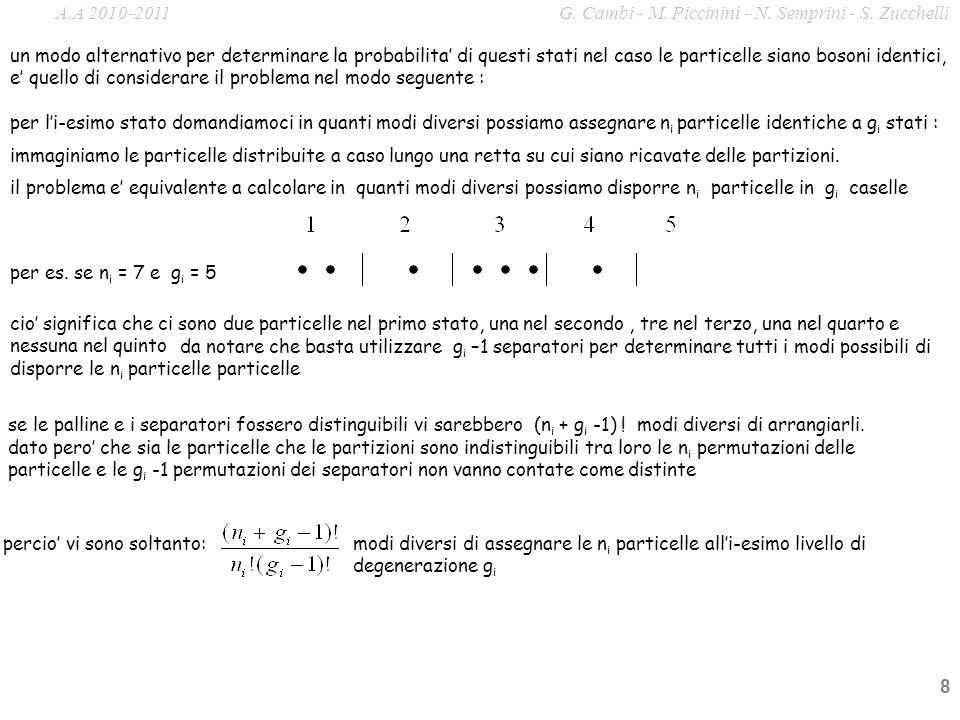 8 da notare che basta utilizzare g i –1 separatori per determinare tutti i modi possibili di disporre le n i particelle particelle un modo alternativo