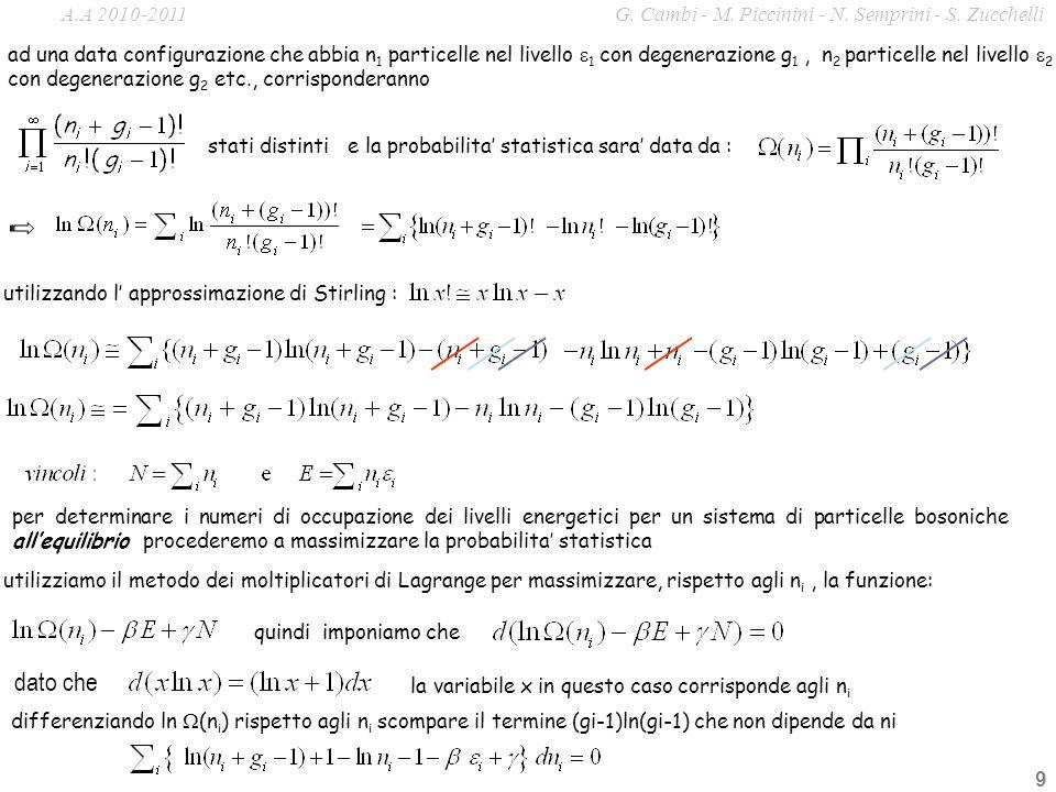 9 ad una data configurazione che abbia n 1 particelle nel livello 1 con degenerazione g 1, n 2 particelle nel livello 2 con degenerazione g 2 etc., co