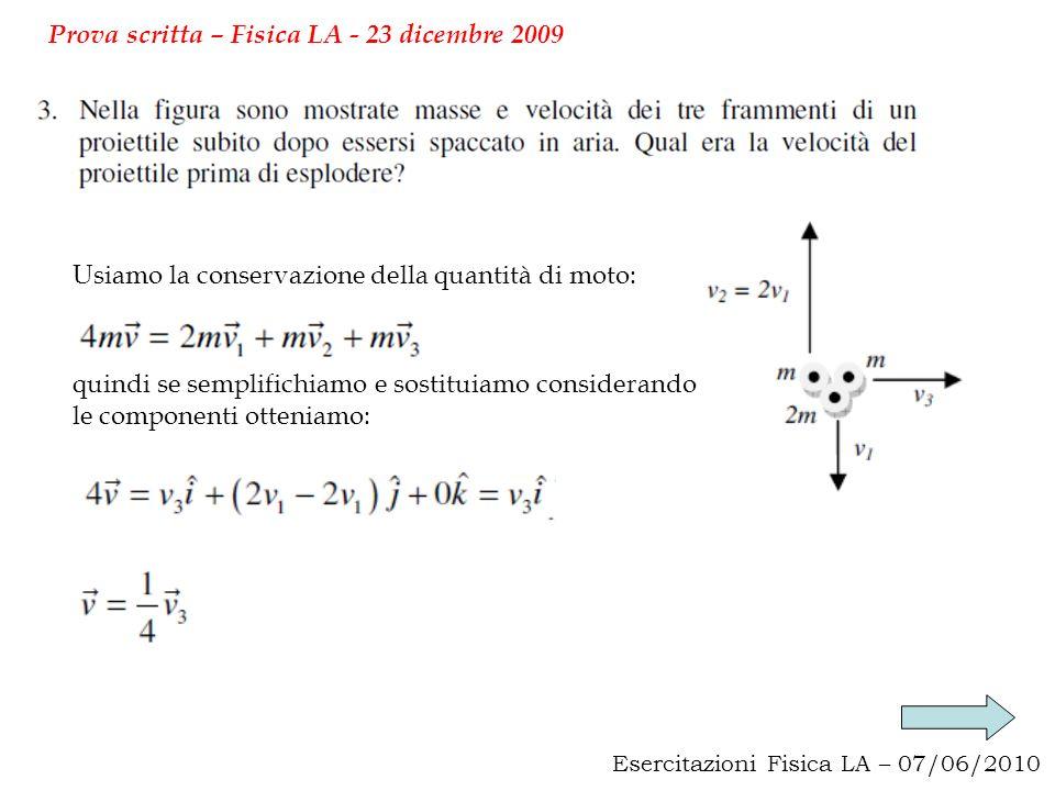 Esercitazioni Fisica LA – 07/06/2010 Prova scritta – Fisica LA - 23 dicembre 2009 Usiamo la conservazione della quantità di moto: quindi se semplifich