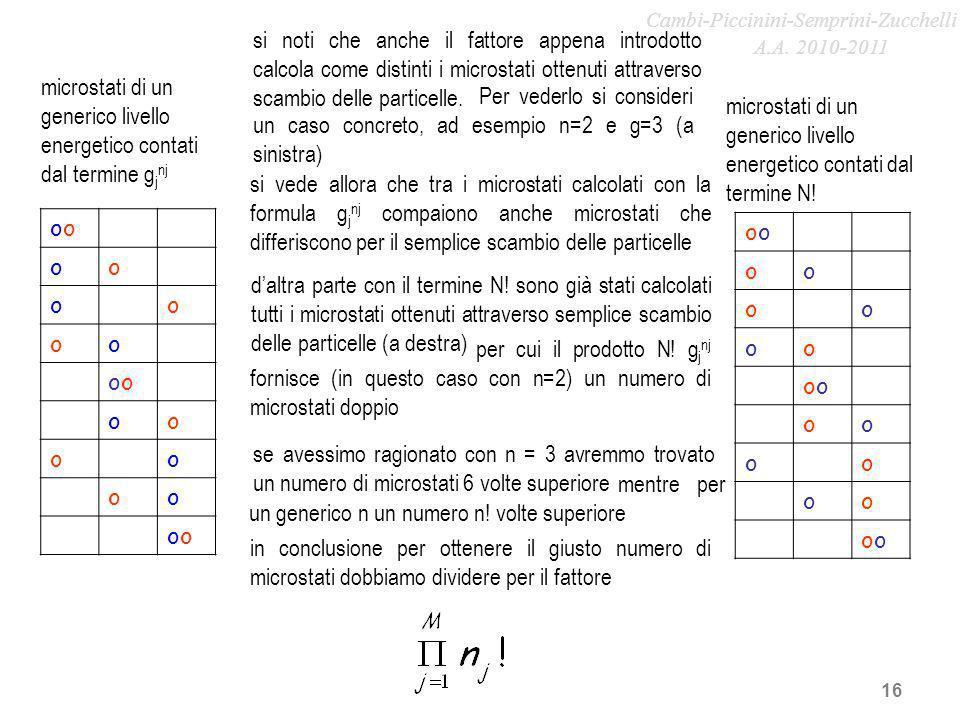 16 si noti che anche il fattore appena introdotto calcola come distinti i microstati ottenuti attraverso scambio delle particelle. o oo oo oo o oo oo