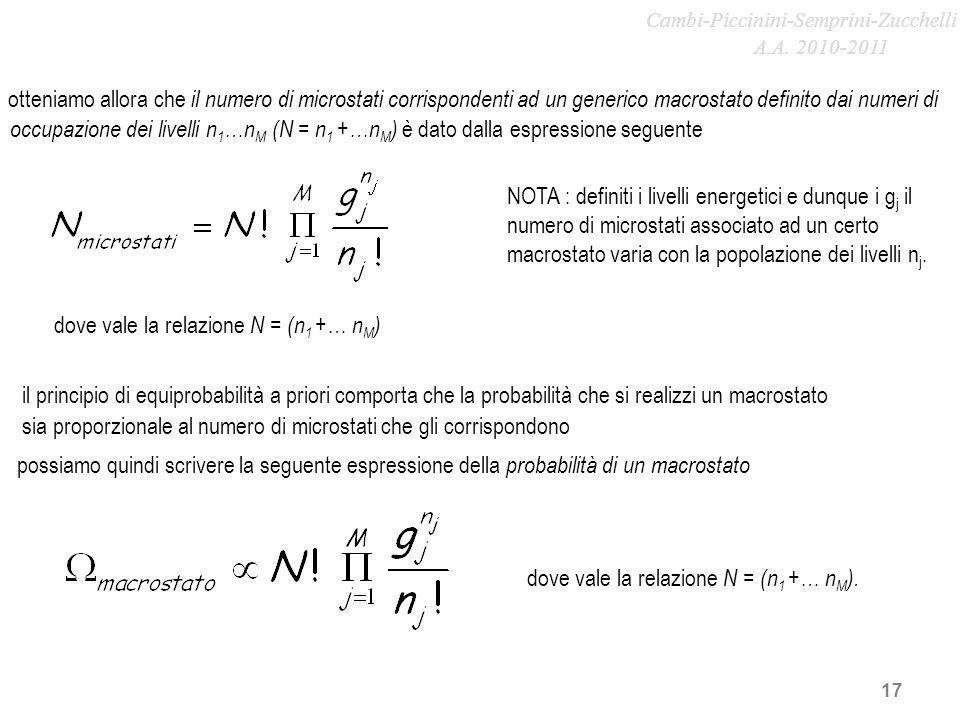 17 il principio di equiprobabilità a priori comporta che la probabilità che si realizzi un macrostato NOTA : definiti i livelli energetici e dunque i