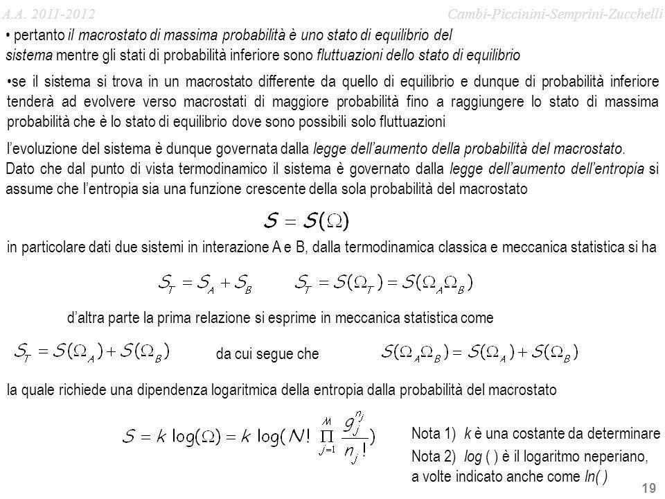 19 in particolare dati due sistemi in interazione A e B, dalla termodinamica classica e meccanica statistica si ha Nota 1) k è una costante da determi