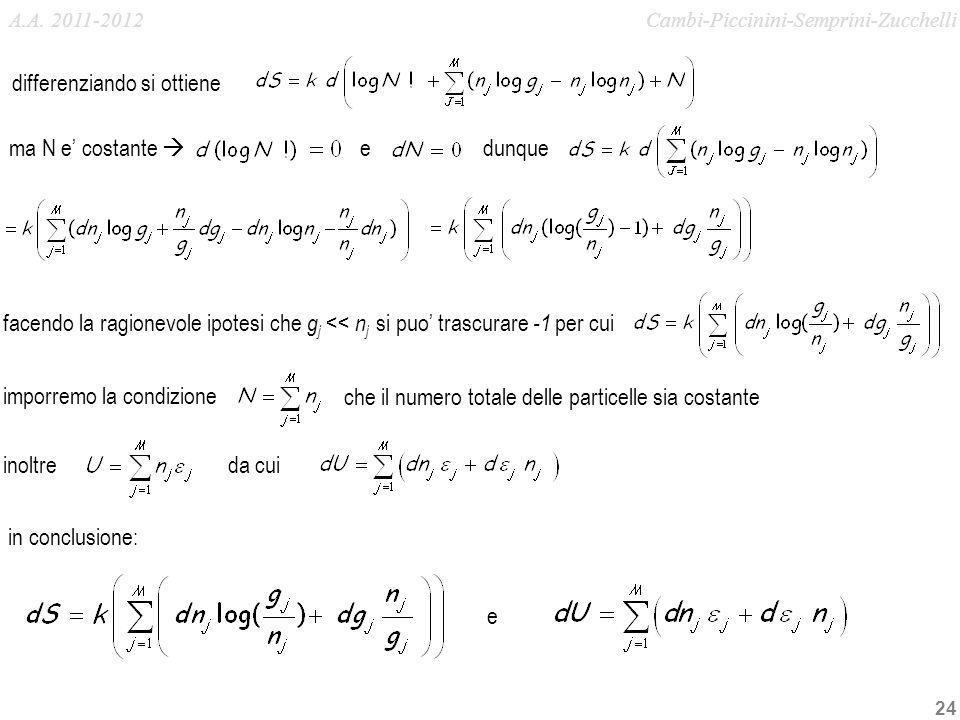 24 che il numero totale delle particelle sia costante differenziando si ottiene ma N e costante dunque inoltreda cui in conclusione: imporremo la cond