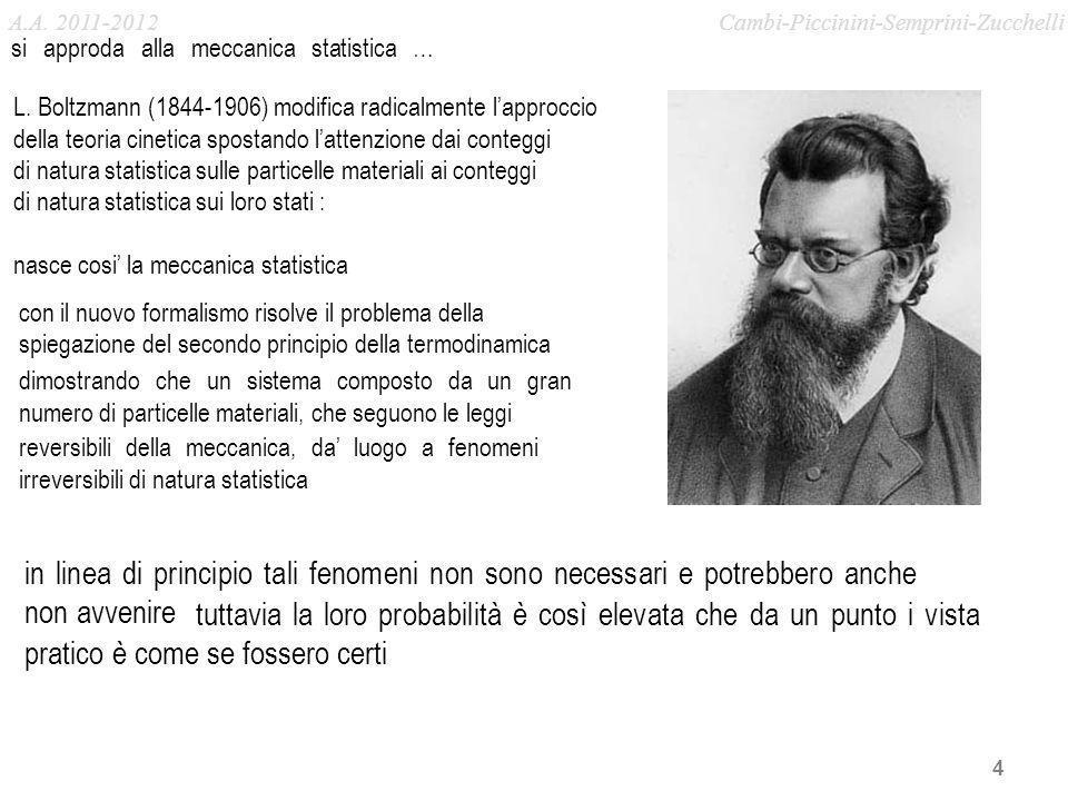 4 si approda alla meccanica statistica … con il nuovo formalismo risolve il problema della in linea di principio tali fenomeni non sono necessari e po
