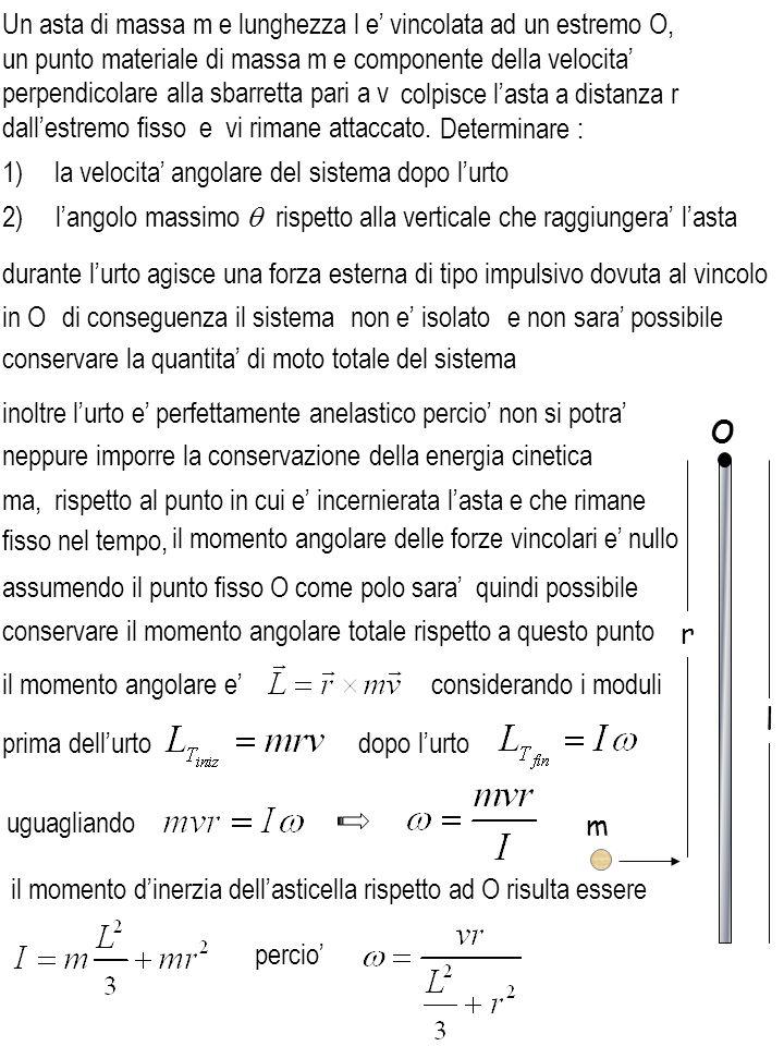 2) langolo massimo rispetto alla verticale che raggiungera lasta durante lurto agisce una forza esterna di tipo impulsivo dovuta al vincolo conservare