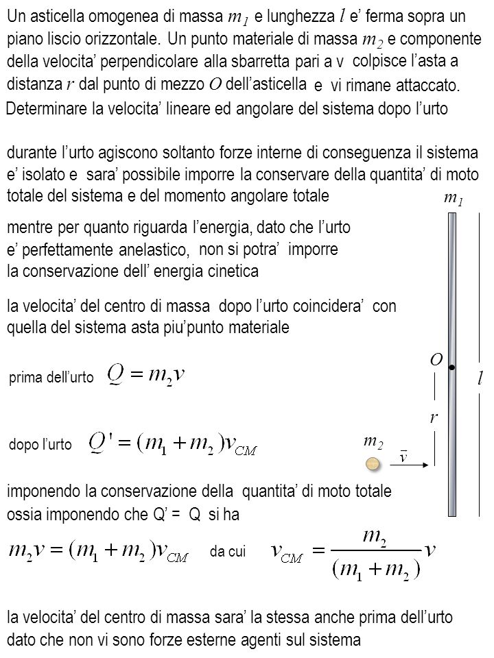 l m1m1 durante lurto agiscono soltanto forze interne di conseguenza il sistema e isolato e sara possibile imporre la conservare della quantita di moto