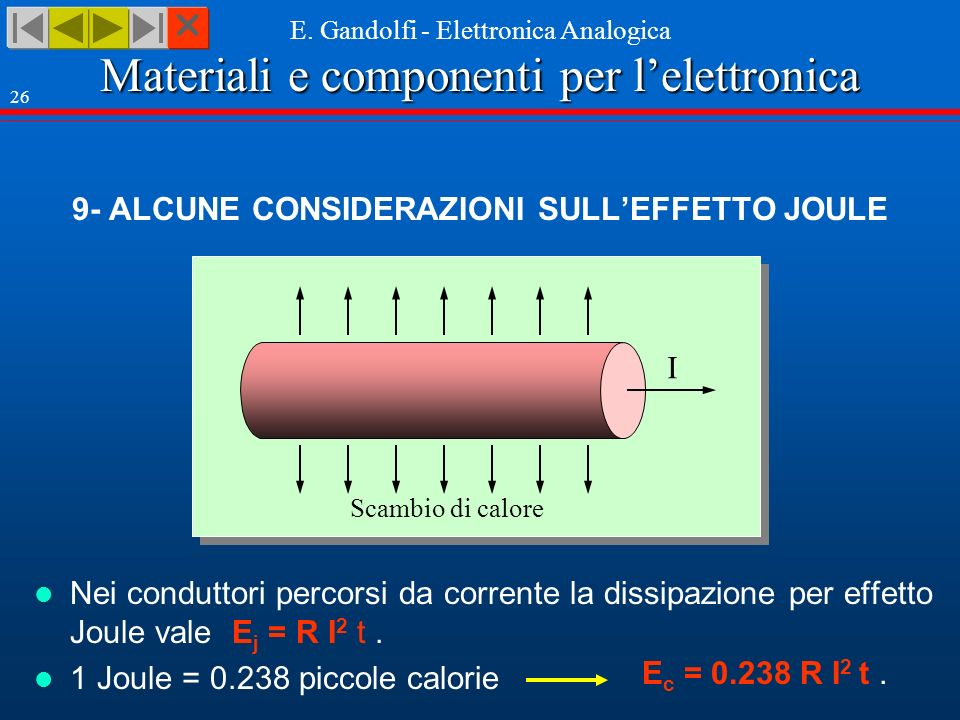 Materiali e componenti per lelettronica E. Gandolfi - Elettronica Analogica 26 9- ALCUNE CONSIDERAZIONI SULLEFFETTO JOULE I Scambio di calore Nei cond