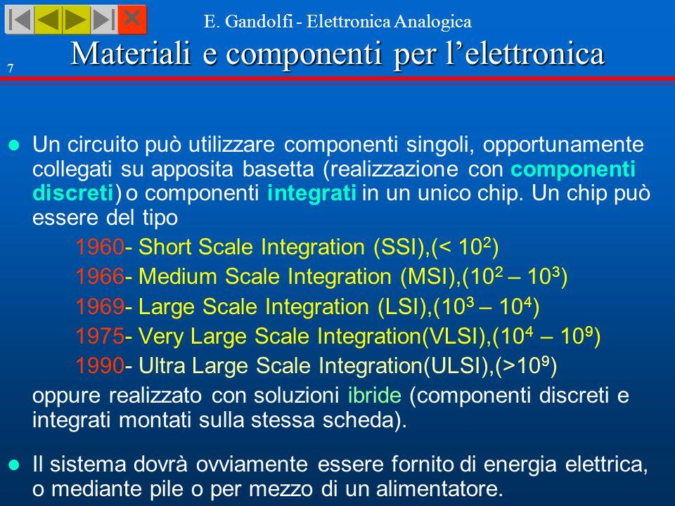 Materiali e componenti per lelettronica E. Gandolfi - Elettronica Analogica 7 Un circuito può utilizzare componenti singoli, opportunamente collegati