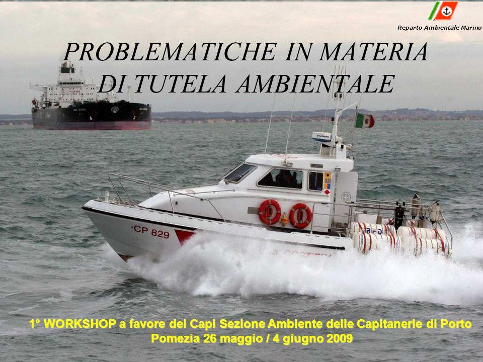 PROBLEMATICHE IN MATERIA DI TUTELA AMBIENTALE Reparto Ambientale Marino 1° WORKSHOP a favore dei Capi Sezione Ambiente delle Capitanerie di Porto Pome
