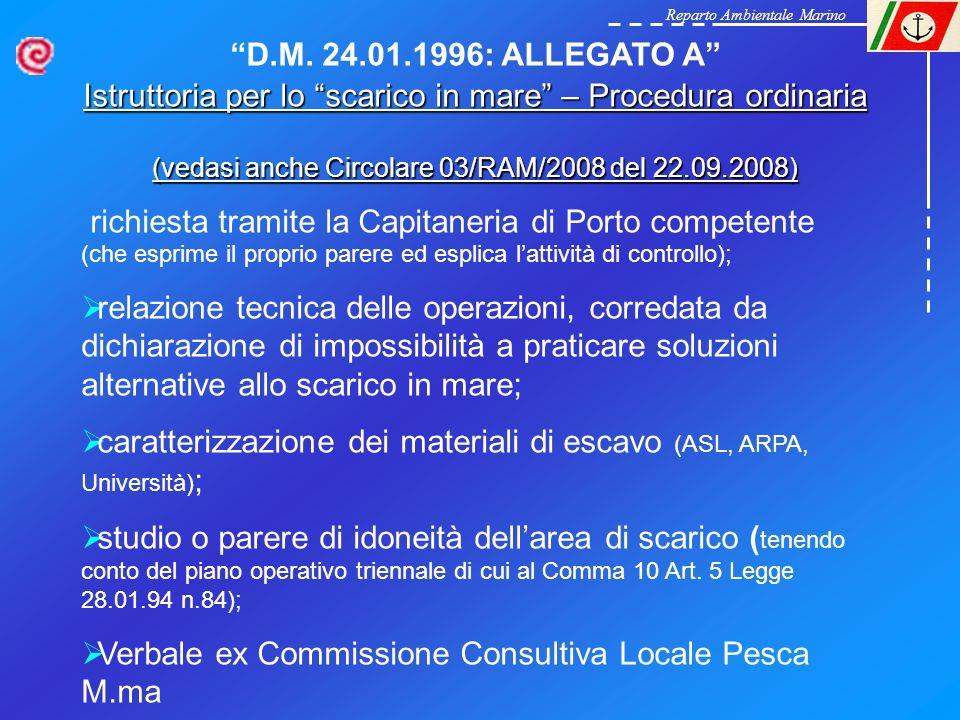 Reparto Ambientale Marino D.M. 24.01.1996: ALLEGATO A Istruttoria per lo scarico in mare – Procedura ordinaria (vedasi anche Circolare 03/RAM/2008 del