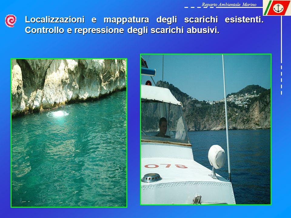Reparto Ambientale Marino Localizzazioni e mappatura degli scarichi esistenti. Controllo e repressione degli scarichi abusivi.