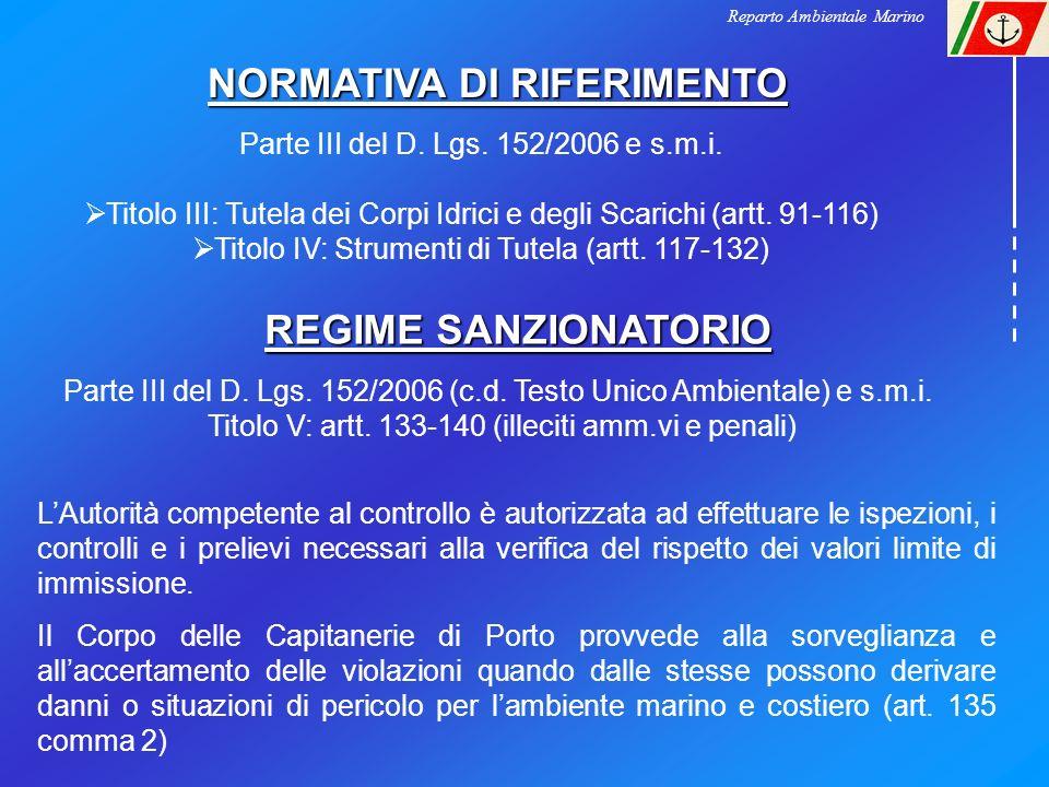 Reparto Ambientale Marino NORMATIVA DI RIFERIMENTO Parte III del D. Lgs. 152/2006 e s.m.i. Titolo III: Tutela dei Corpi Idrici e degli Scarichi (artt.