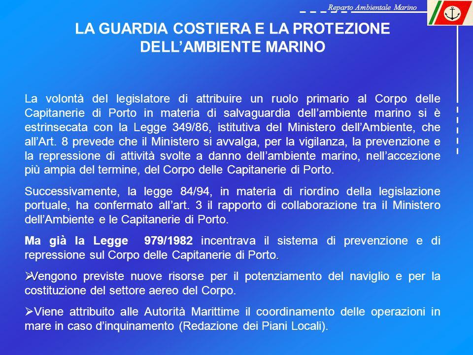 Reparto Ambientale Marino LA GUARDIA COSTIERA E LA PROTEZIONE DELLAMBIENTE MARINO La volontà del legislatore di attribuire un ruolo primario al Corpo