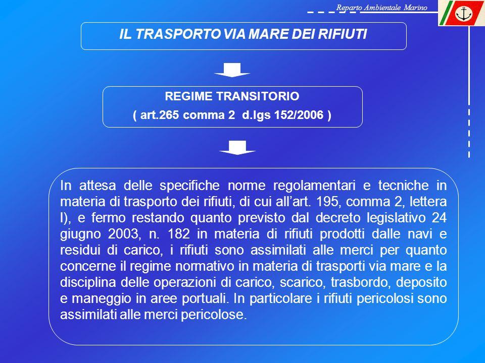 IL TRASPORTO VIA MARE DEI RIFIUTI REGIME TRANSITORIO ( art.265 comma 2 d.lgs 152/2006 ) In attesa delle specifiche norme regolamentari e tecniche in m