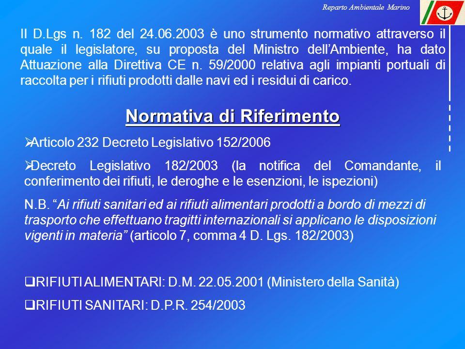 Normativa di Riferimento Articolo 232 Decreto Legislativo 152/2006 Decreto Legislativo 182/2003 (la notifica del Comandante, il conferimento dei rifiu